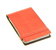 Suporte de cartões de couro vermelho Fotografia de Stock