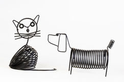 Suporte de letra do gato e do cão do ferro feito Imagens de Stock