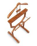 Suporte de madeira do gancho em um fundo branco Vista superior illustra 3D Fotografia de Stock