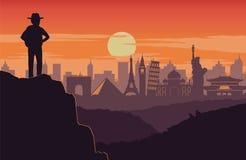 Suporte do aventureiro no pico da montagem e do olhar ao ahe do marco do mundo ilustração do vetor
