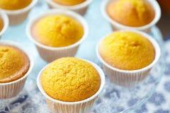 Suporte do bolo com queques da cenoura Imagens de Stock Royalty Free
