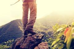 Suporte do caminhante na rocha do pico de montanha fotografia de stock royalty free