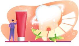 Suporte do caráter do homem perto do tubo de dentífrico vermelho enorme ilustração do vetor