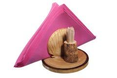 Suporte do guardanapo e palitos de madeira Fotografia de Stock