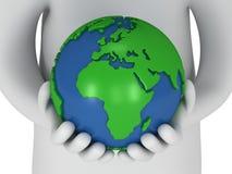 suporte do homem 3d branco com o globo do planeta da terra Imagem de Stock Royalty Free