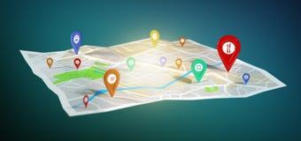 suporte do pino da rendição 3d em um mapa imagens de stock royalty free