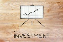 Suporte do whiteboard da sala de reunião com gráfico positivo do stats Fotos de Stock Royalty Free