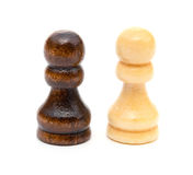 Suporte dos penhores da xadrez no branco Foto de Stock Royalty Free