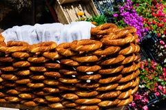 Suporte dos vendedores do Bagel Fotografia de Stock Royalty Free
