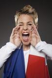 Suporte França do aficionado desportivo do futebol Fotografia de Stock Royalty Free