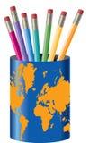 Suporte global do lápis   Fotos de Stock
