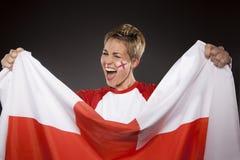 Suporte Inglaterra do aficionado desportivo do futebol Fotografia de Stock