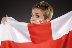 Suporte Inglaterra do aficionado desportivo do futebol Foto de Stock