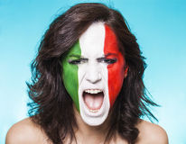 Suporte italiano para FIFA 2014 que grita Fotografia de Stock
