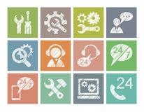 Suporte laboral, reparo, auxílio, ícones, coloridos, lápis que choca, vetor ilustração do vetor