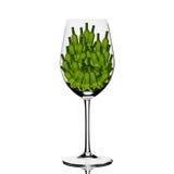 Suporte o vidro iluminado com as garrafas verdes pequenas para dentro Imagem de Stock Royalty Free