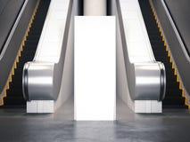 Suporte vazio da propaganda perto da escada rolante rendição 3d Fotografia de Stock