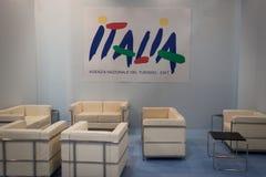 Suporte vazio no bocado 2014, troca internacional do turismo em Milão, Itália Foto de Stock