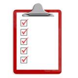 Suporte vermelho da almofada com caixas de verificação Imagem de Stock
