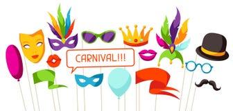 Suportes da cabine da foto do carnaval Acessórios para o festival e o partido ilustração do vetor