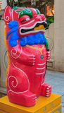 Suportes da foto o leão ou o cão Bixie do foo ou da pessoa de pé chinesa de Pixiu ajustaram f fotografia de stock royalty free