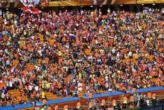 Suportes do futebol na cidade do futebol - WC 2010 de FIFA foto de stock