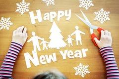 Suposiciones de la niña sobre día de fiesta del Año Nuevo Foto de archivo