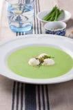 Suppe der grünen Erbse mit Frühlingszwiebel und -mozzarella Lizenzfreie Stockfotos