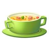 Suppe in der grünen Schüssel Stockbild