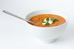 Suppe der roten Linse, der Kichererbse u. der Paprikas Lizenzfreie Stockbilder