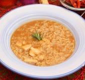 Suppe des Reises und des Hühnerfleisches stockfotos