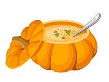Suppe im Kürbis. Stockbilder