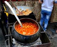 Suppe kochte draußen auf heißen Kohlen in einem Roheisentopf Lizenzfreie Stockfotos