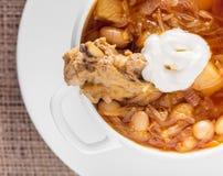 Suppe mit Bohnen und Schweinefleischrippen Lizenzfreies Stockbild