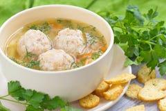 Suppe mit Fleischklöschen lizenzfreies stockbild
