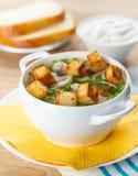 Suppe mit Fleischklöschen und Nudeln stockfoto