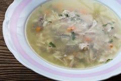 Suppe mit Hühnerfleisch und -gemüse in der Platte Stockbilder