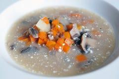 Suppe mit Karotten, Pilzen und Sauerrahm Stockfotografie