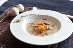 Suppe mit Karotten, Pilzen und Sauerrahm Stockbilder