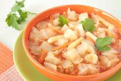 Suppe mit Kohl, Kartoffeln, Karotten und Petersilie Stockfoto