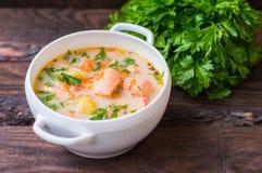 Suppe mit Lachs-Finnland stockfoto
