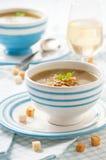 Suppe mit Pilzen stockfotos