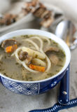 Suppe mit Pilzen und Spaghettis Lizenzfreies Stockbild