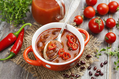 Suppe mit roter Bohne Stockfotografie