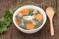 Suppe mit Schweinefleisch und Kürbis auf hölzernem Hintergrund Stockbild