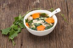 Suppe mit Schweinefleisch und Kürbis auf hölzernem Hintergrund Stockfotografie