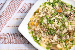 Suppe mit Stücken des Lamms Lizenzfreie Stockfotos
