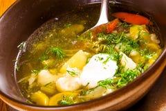 Suppe mit unterschiedlichem Gemüse und Sauerrahm lizenzfreie stockfotografie