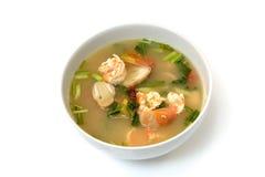 Suppe Toms Yum Goong mit Garnele, thailändische Nahrung Lizenzfreies Stockfoto