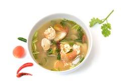 Suppe Toms Yum Goong mit Garnele, thailändische Nahrung Stockbild